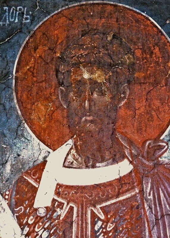Святой Великомученик Феодор Тирон. Фреска монастыря Грачаница, Косово, Сербия. Около 1320 года.