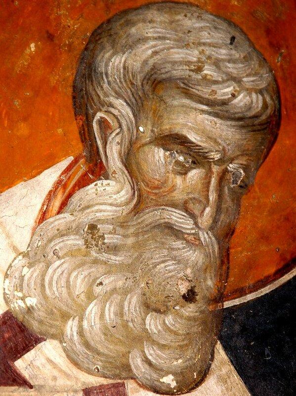 Святитель Афанасий Великий, Архиепископ Александрийский. Фреска церкви Св. Николая Орфаноса в Салониках, Греция. XIV век.