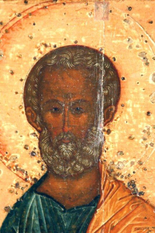 Святые Апостолы Пётр и Павел. Фрагмент иконы. Апостол Пётр.