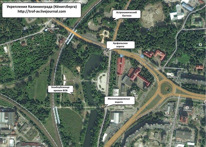Укрепления Кёнигсберга, схема расположения, Калининград