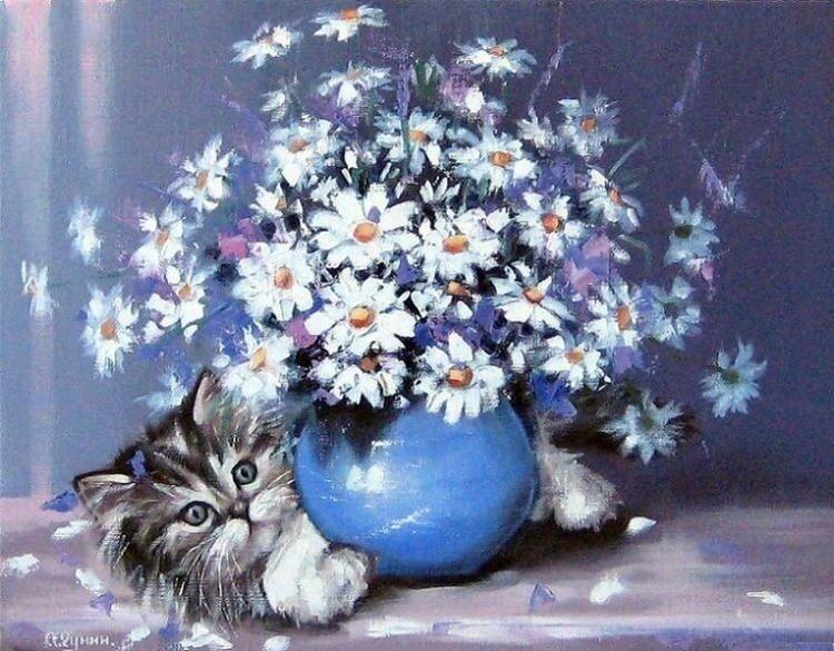 Александр Гунин. Котёнок с букетом.