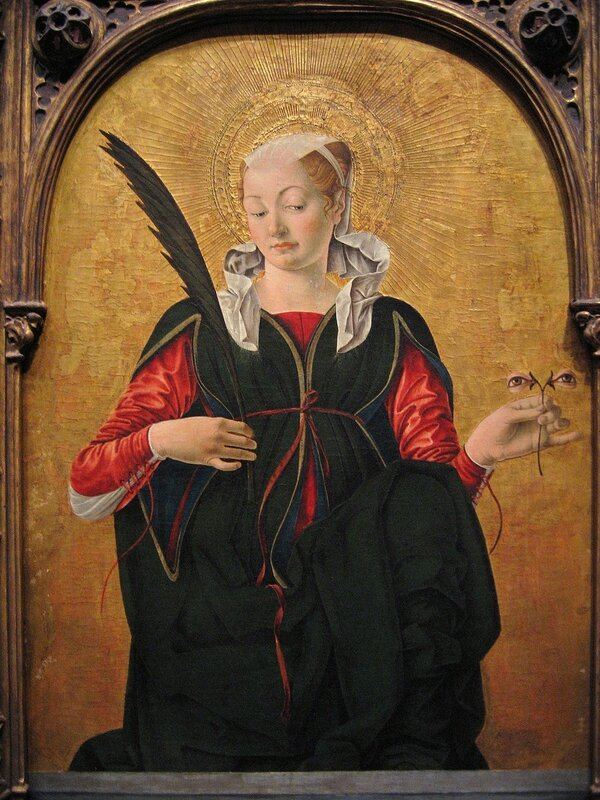 Sint Lucia door Francesco del Cossa, National Gallery of Art (Washington DC). Olieverf en bladgoud, iets na 1470.