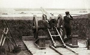 Укрепените позиции на руската батарея на румънския бряг на река Дунав край Корабия, 1877 г.
