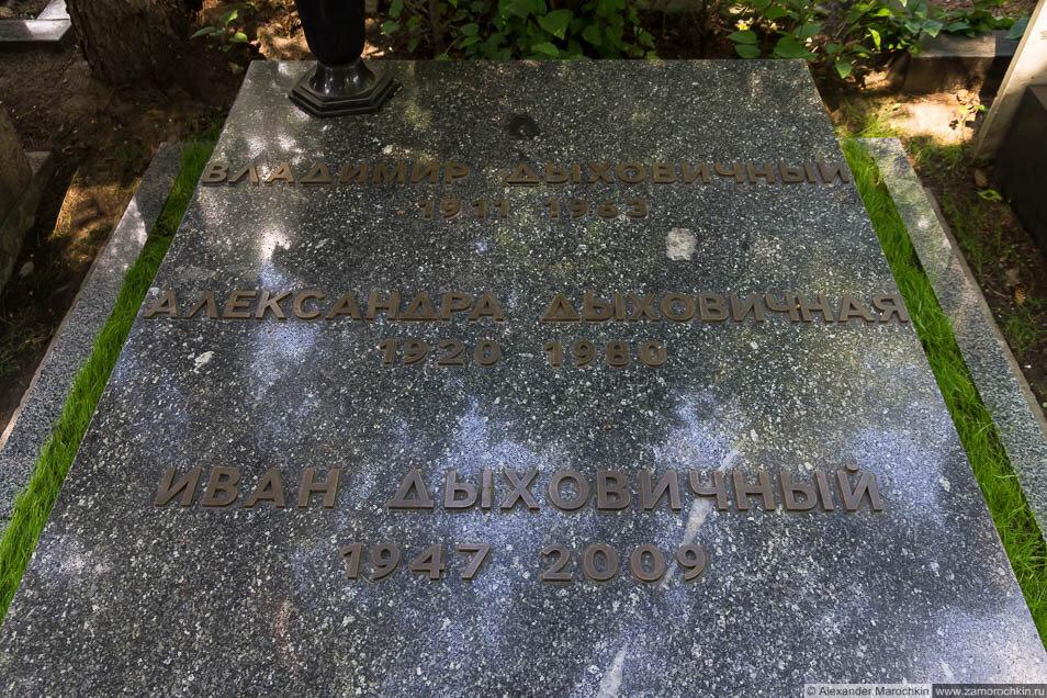 Надгробие на могиле Ивана Дыховичного на Новодевичьем кладбище