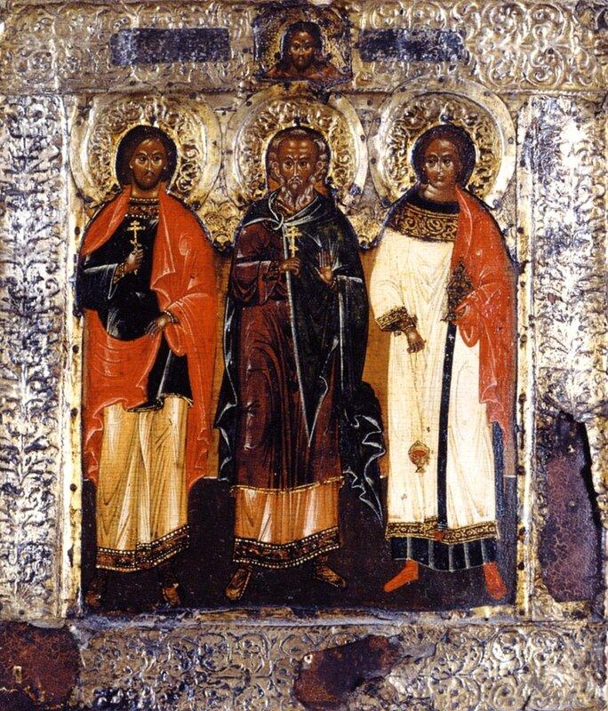 Святые мученики Гурий, Самон и Авив. Икона. Россия, XVII век.