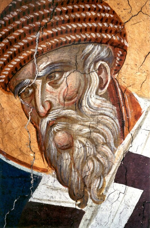 Святитель Спиридон, Епископ Тримифунтский, Чудотворец. Фреска монастыря Высокие Дечаны, Косово, Сербия. Около 1350 года.