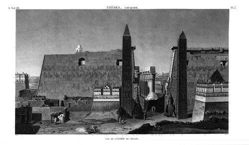 Храм Амона в Луксоре, второй пилон, гравюра начала XIX века, Египетский атлас Наполеона