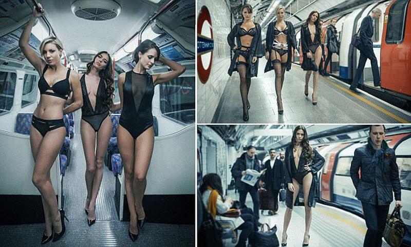 Показ белья в метро Лондона