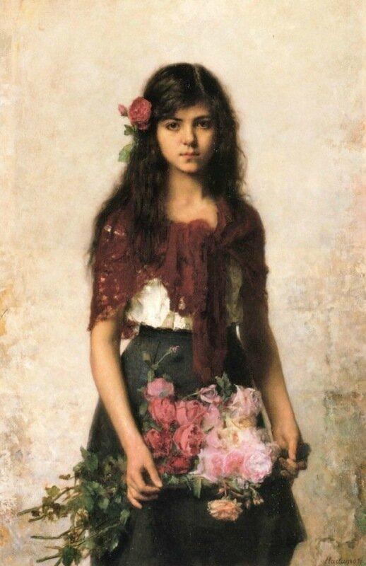 Alexei Alexeievich Harlamoff (or Alexej Harlamoff - Alexej Charlamoff) (Russian painter, c 1840–1925) The Flower Seller (2).jpg