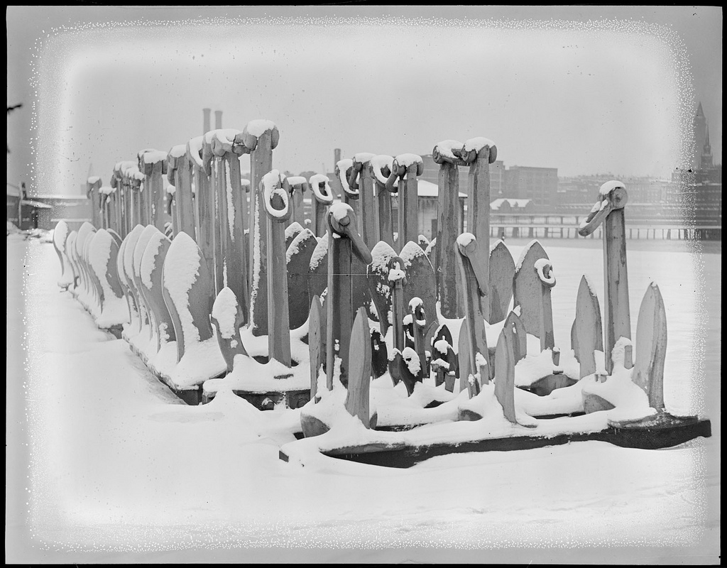 Battery of snow covered anchors - Navy Yard, Boston (1931).jpg