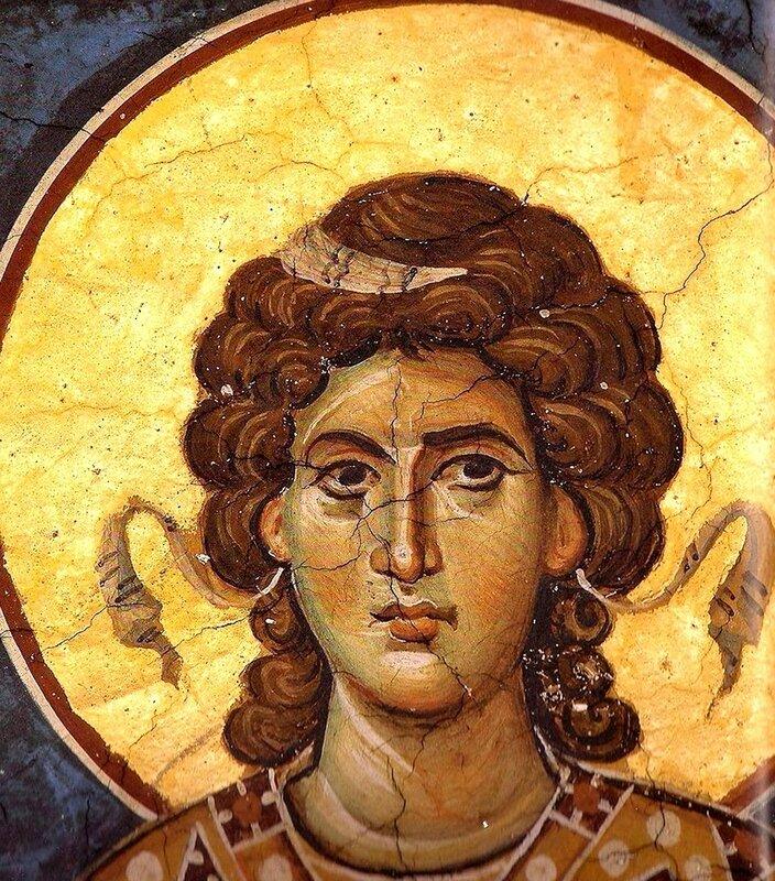 Ангел Господень. Византийская фреска.
