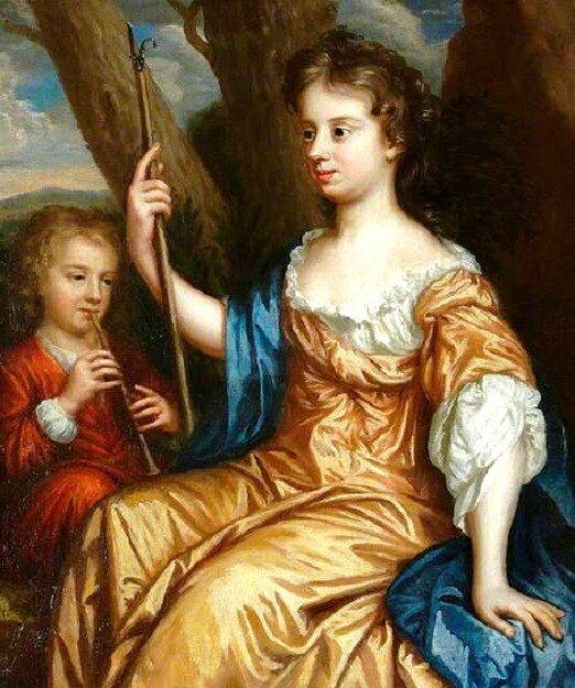 1663 Mary Beale (English portrait painter, 1632-1697) Self Portrait of the Artist as a Shepherdess with her Son Charles (1660-1714).jpg