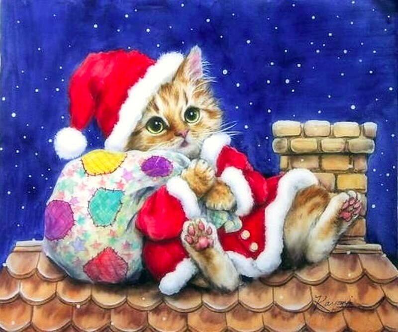 сорт ещё новогодняя открытка с котами взять