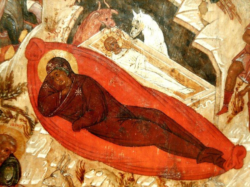 Рождество Христово. Икона. Новгород, XVI век. Фрагмент. Богородица и Младенец Христос.