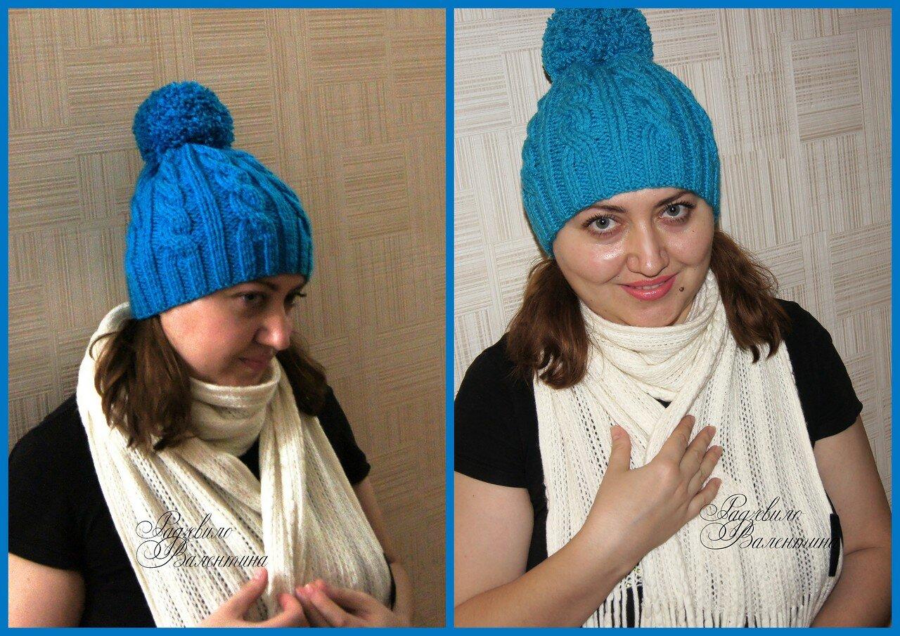 Вязание шапочки с косой 79