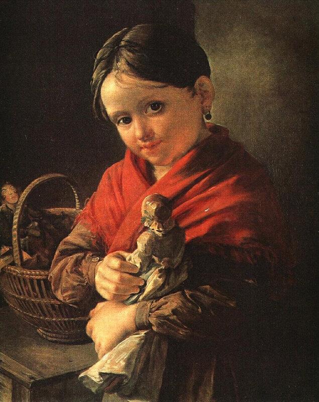 """Василий Андреевич Тропинин. """"Девочка с куклой"""". 1841г."""