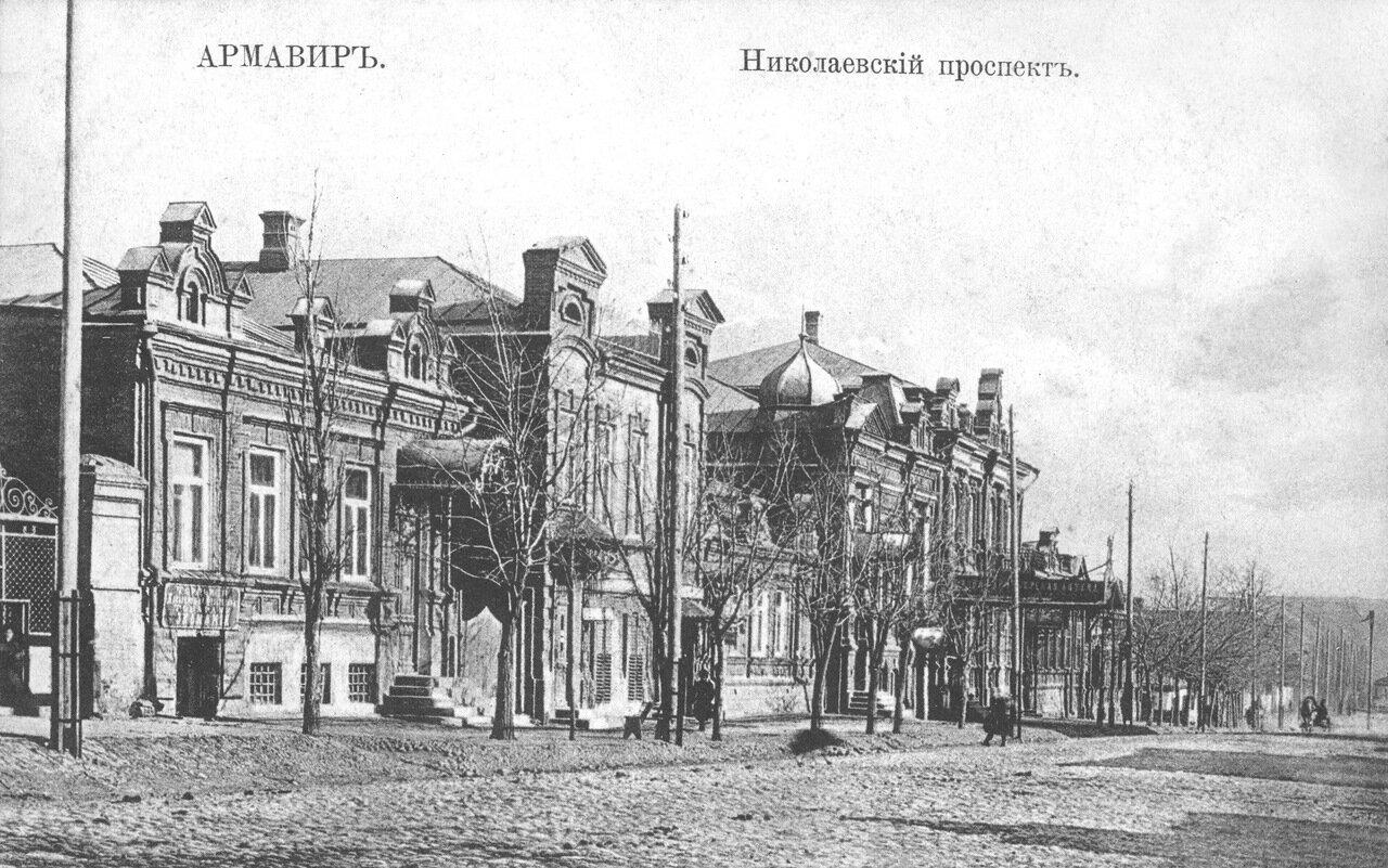 16. Западная сторона проспекта от ул. Бульварной к р. Кубани. 1911