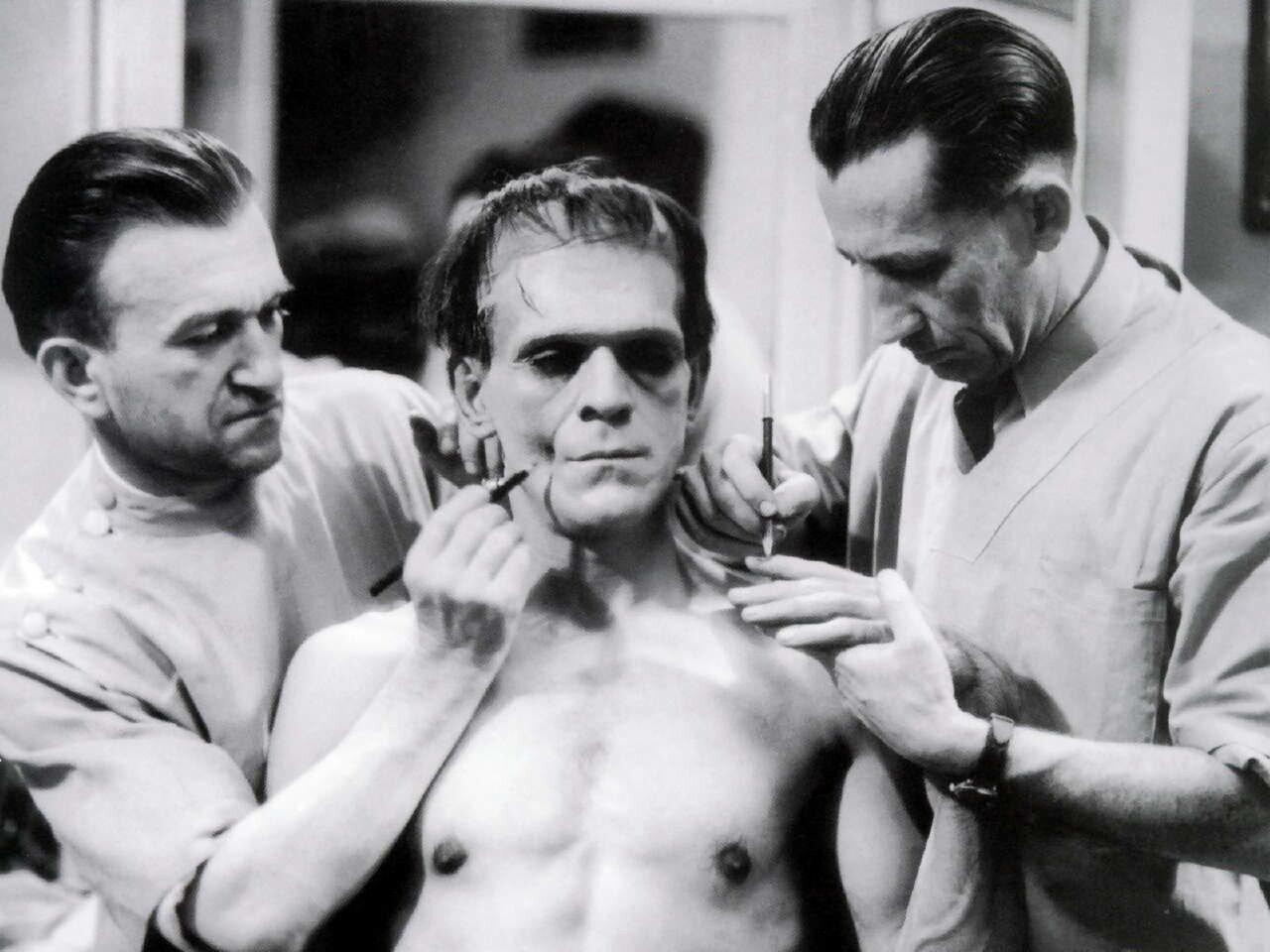 1931. Бориса Карлоффа гримируют для съемок «Франкенштейна»