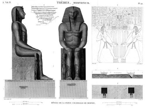 Колоссы Мемнона, Египет, чертежи из атласа Наполеона