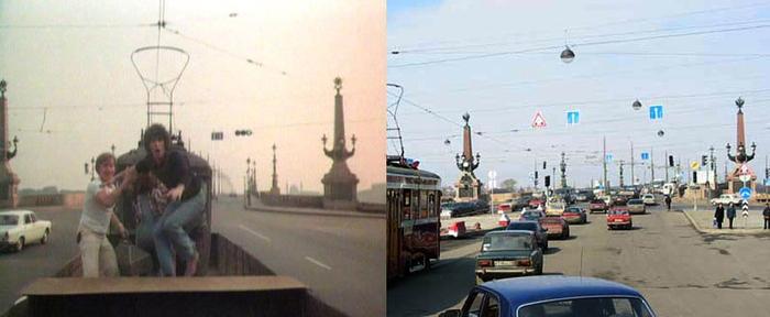 40. В следующем кадре показывают, как трамвай только-только въезжает на Троицкий мост с той стороны