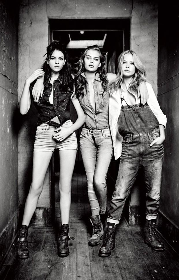 Катя Богучарская (Kate Bogucharskaia), Сольвейг Мёрк Хансен (Solveig Mork Hansen) и Камилла Кристенсен (Camilla Christensen) в рекламной фотосессии для G-Star Raw