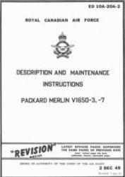 Книга Description and Maintenance Instruction Packard Merlin V1650-3, -7