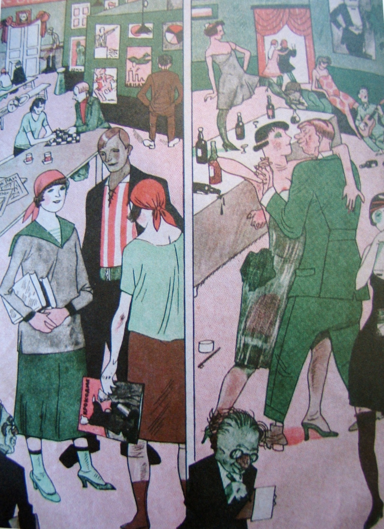 A workers' club and a NEP nightclub, caricature published in Krokodil, 1927.jpg