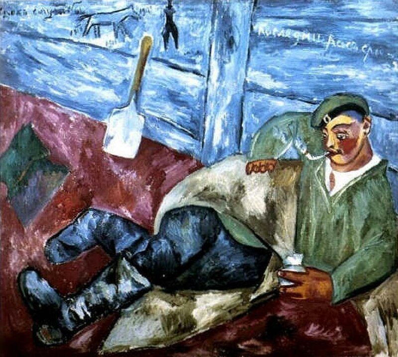 A Soldier Resting, 1911, by Mikhail Larionov (1881-1964)