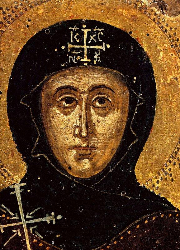 Святая Преподобная Матрона Константинопольская. Икона. Греция, XVII век. Фрагмент.