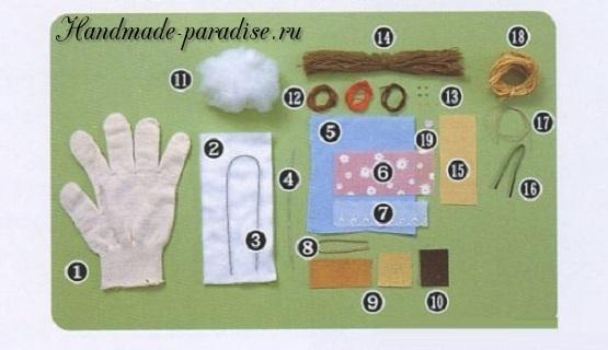 Как сшить куколку из перчатки