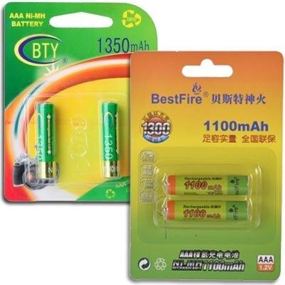 ААА-аккумуляторы «BTY 1350» и «TrustFire 1100»