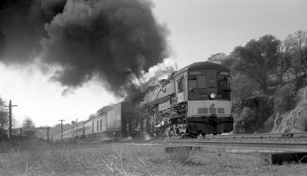 Southern Pacific train, engine #4274, type 4-8-8-2, Calif-Nevada R.R. Historical Society excursion, Penryn, Cal., November 30, 1957.