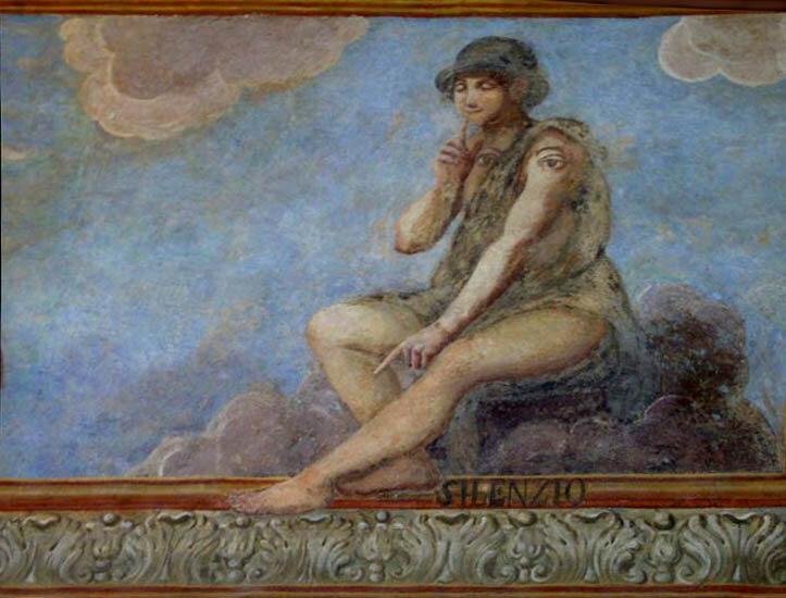 Молчание. Фреска во дворе монастыря Санта Кьяра. XVIII в. Неаполь