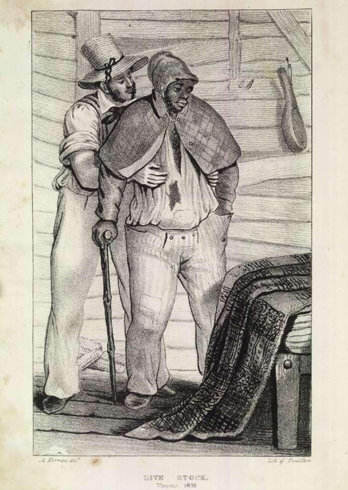 Белый покупатель осматривает чернокожего раба, выставленного на продажу (штат Вирджиния, 1830 год)