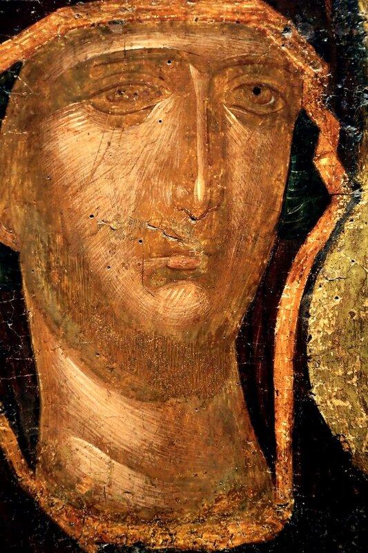 Богоматерь Одигитрия. Икона. Византия, вторая половина XIV века. Византийский музей в Афинах. Фрагмент.