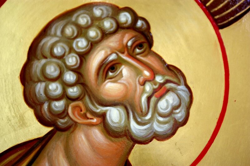 Ангел Господень освобождает Святого Апостола Петра из темницы. Иконописец Наталия Пискунова. Фрагмент.