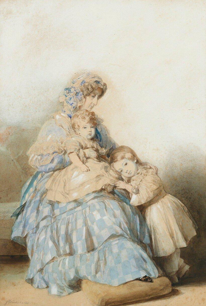 La reine Marie-Amélie et les deux fils du duc de Nemours аукцион Sotheby's