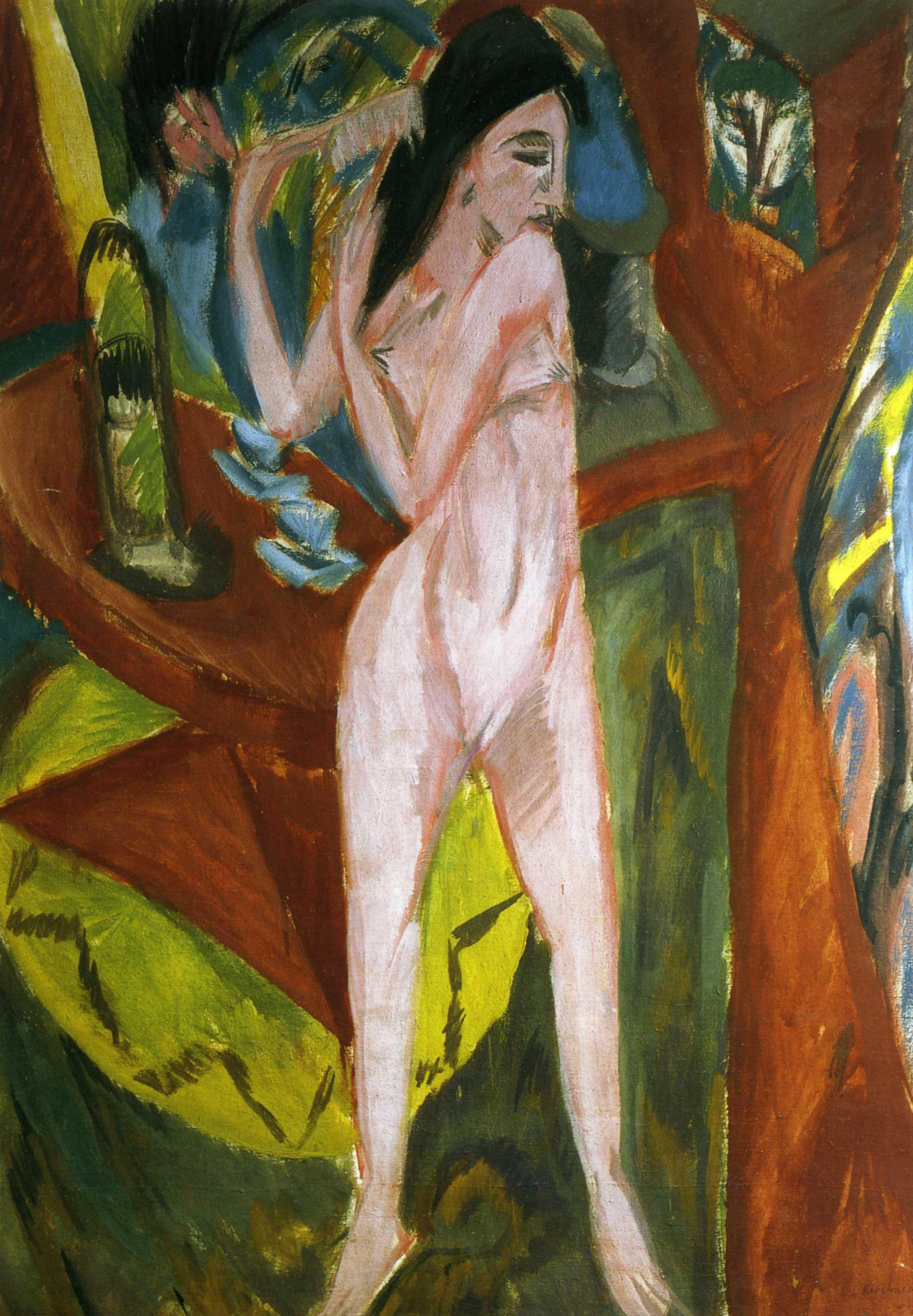 Эрнст Людвиг Кирхнер (1880 — 1938) — немецкий художник, график и скульптор, представитель экспрессионизма. 1913. «Обнаженная»