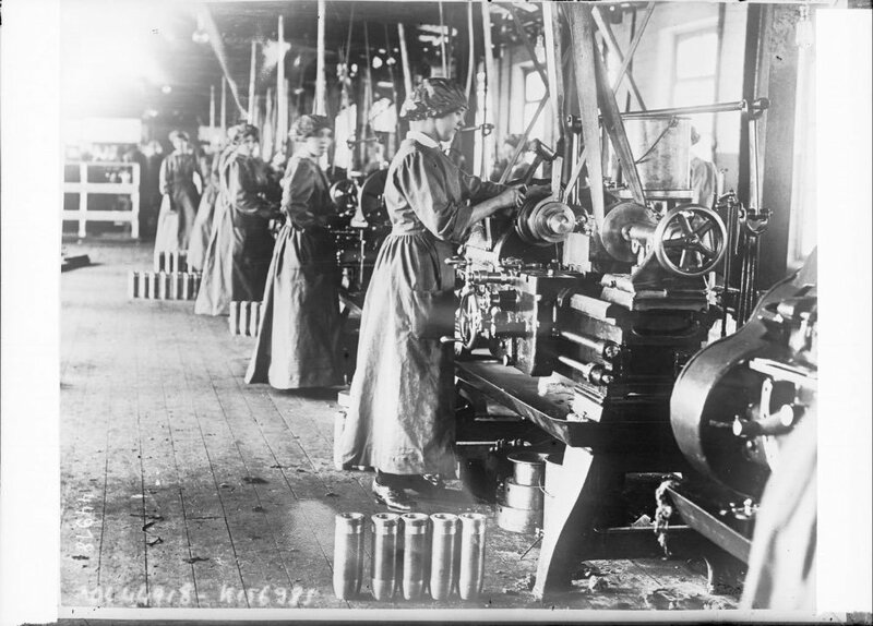 Women working on lathes in a munitions factory Scotland