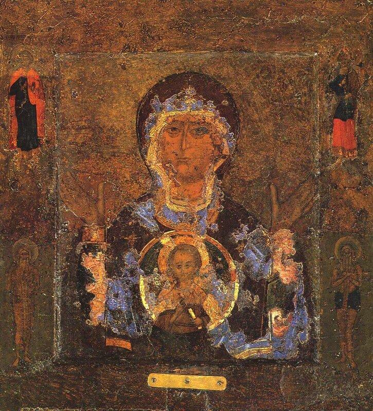 """Чудотворная икона Божией Матери """"Знамение"""". Великий Новгород, XII век."""