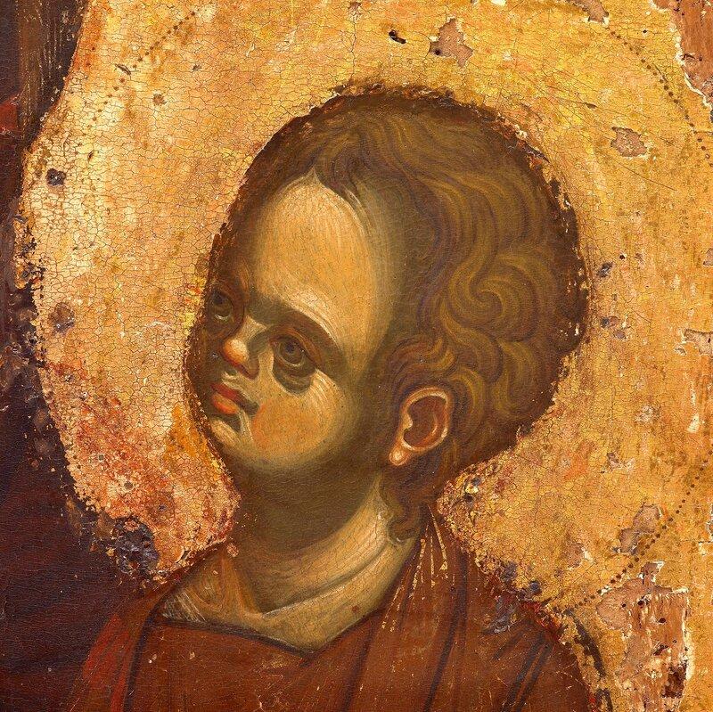Богоматерь с Младенцем. Византийская икона в монастыре Ватопед на Святой Горе Афон. Фрагмент.