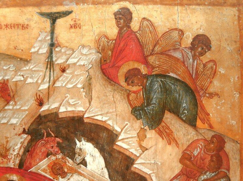 Рождество Христово. Икона. Новгород, XVI век. Фрагмент. Ангелы Господни.