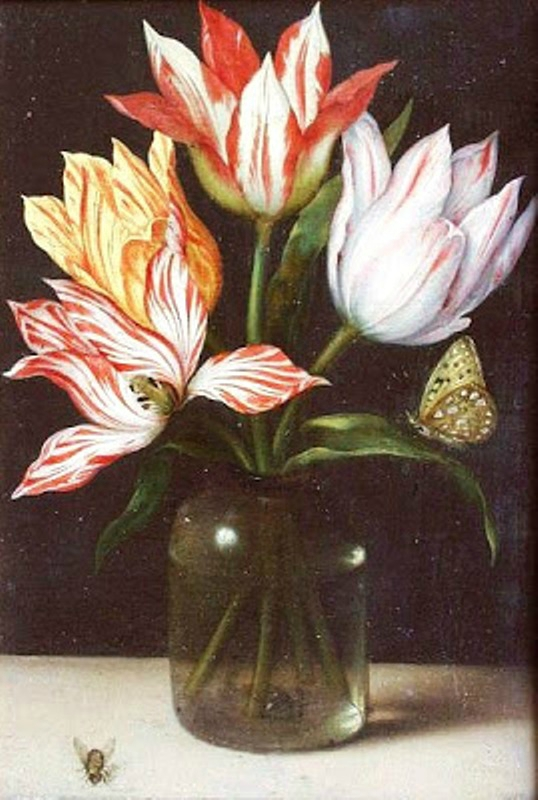 4 17 Ambrosius Bosschaert the Elder (Dutch Baroque Era Painter, 1573-1621) Glass with Four Tulips 1615.jpg