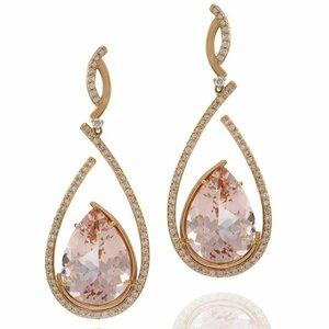 Vianna, Brasil - Earrings in 18K rose gold set with Morganites and Diamonds