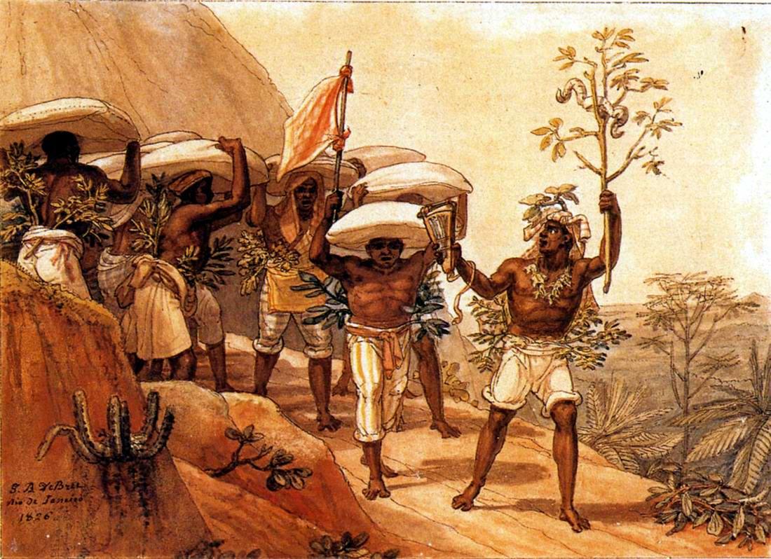 Рабы осуществляют переноску мешков с кофейными зернами (Бразилия, 1838 год)