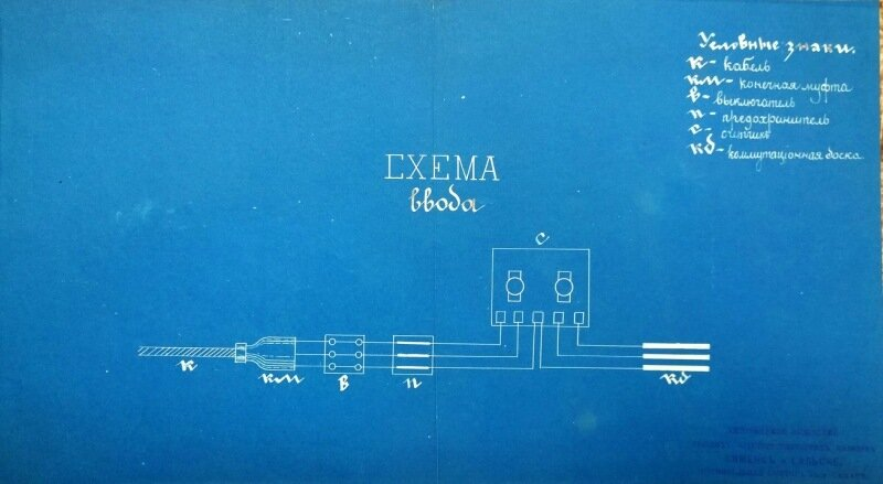 """Проект схемы ввода. Разработан """"Сименс и Гальске"""" для Центральной электрической станции Самары. (ЦГАСО)\"""