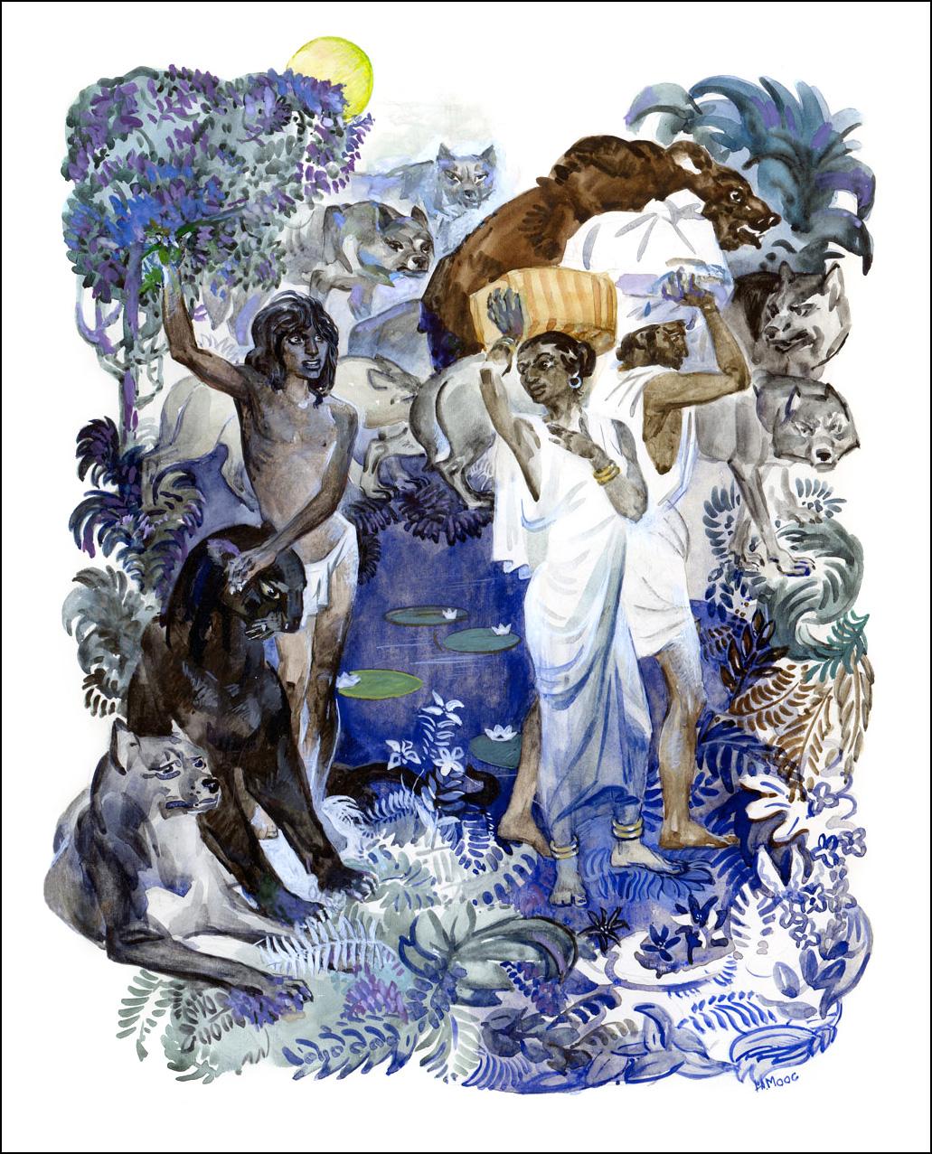 иллюстратор Н. Моос, Джозеф Редьярд Киплинг, Маугли.