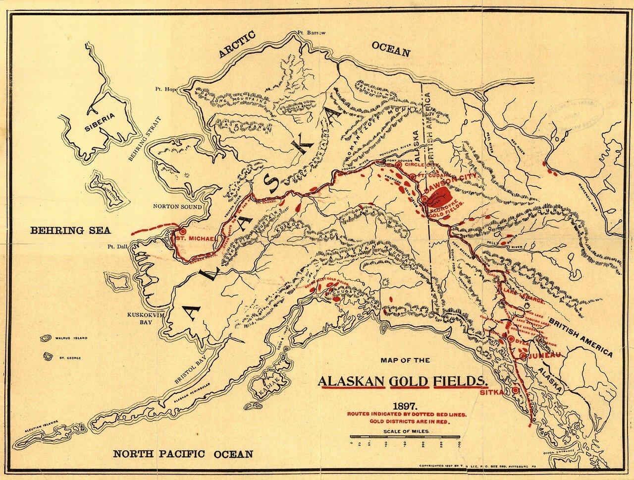 1897. Карта месторождений золота на Аляске