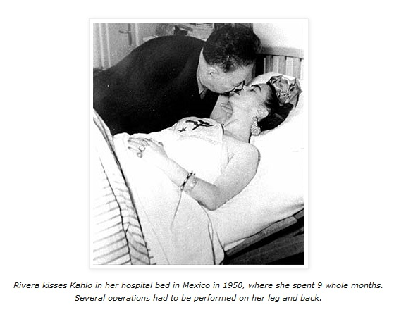 Rivera kisses Kahlo in her hospital bed in Mexico in 1950, where she spent 9 whole months. Several operations had to be performed on her leg and back..jpg