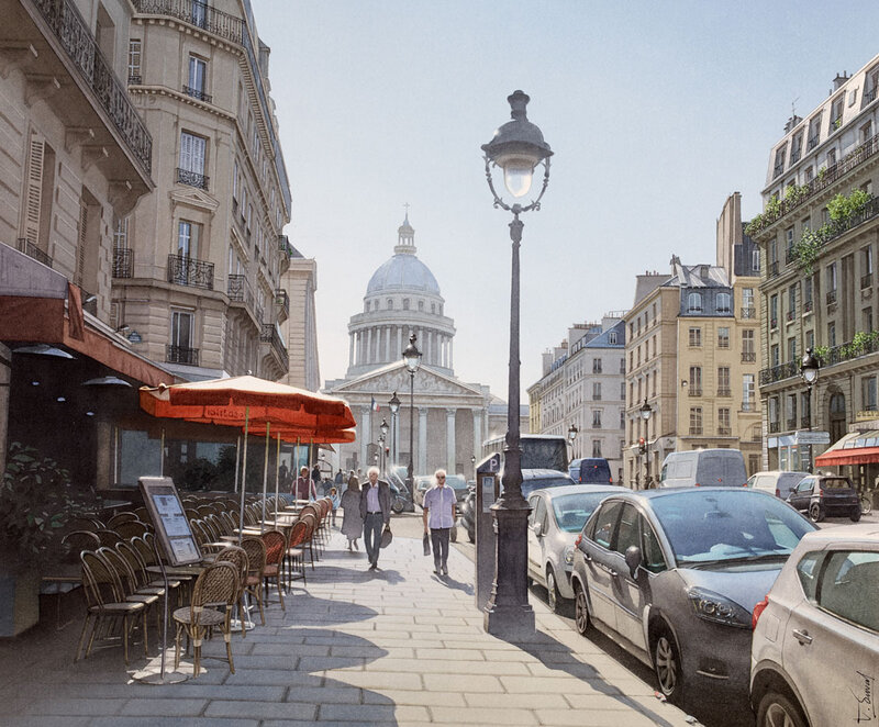 Lumière vive sur le Panthéon et la rue Soufflot